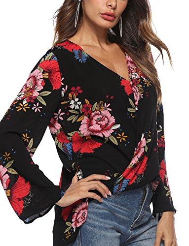 Neck Eleganti Shirts Baggy Modello Casual Fiore Fashion Tops Unique Classiche Donne V Chiffon Camicetta Blusa A Maniche Nero Blusa Accogliente Donna Autunno Camicia Lunghe vq5vCWwR