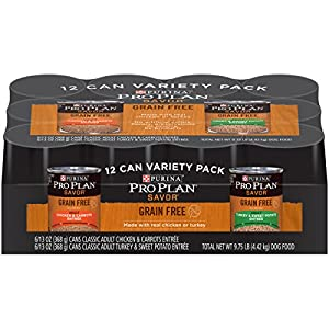 Purina Pro Plan SAVOR Grain-Free Wet Dog Food Variety Pack - Twelve (12) 13 oz. Cans