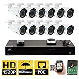 GW 16 Channel H.265 NVR 4MP (2592 x 1520) Power Over Ethernet IP Camera System, 12pcs 4MP 1520p 2.8-12mm Varifocal Zoom POE Weatherproof Bullet Security Cameras, 130ft Night Vision Review