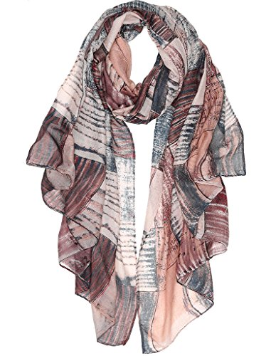 Women's Floral Scarves Chiffon Printed Scarf - Scarf Viscose Brown
