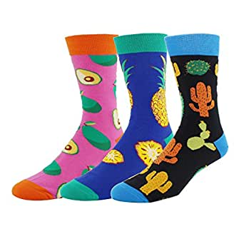 Happypop 3 Pack Men Novelty Cool Fruit Cotton Funny Crew Socks Gift Box