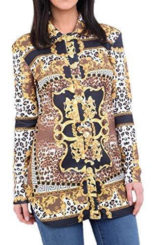 Re Tech UK Mujer Leopardo Bufanda Estampada Dorado Camisa Blusa Manga Larga Botones Vestido Top Moderno