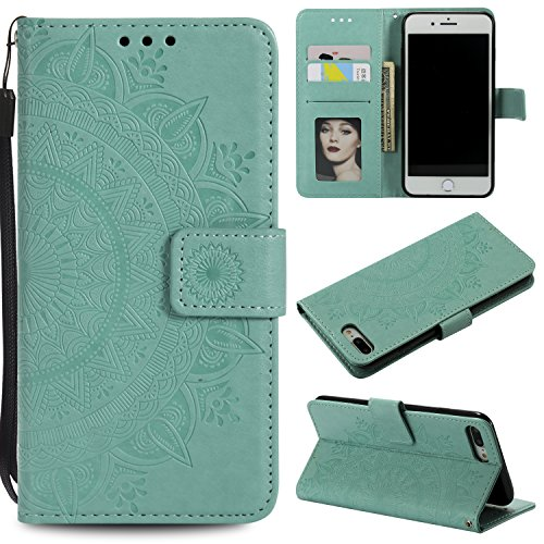 Floral Wallet Case for iPhone 7 Plus 5.5'',Strap Flip Case for iPhone 8 Plus 5.5'',Leecase Embossed Totem Flower Design Pu Leather Bookstyle Stand Flip Case for iPhone 7 Plus /8 Plus 5.5''-Green by Leecase