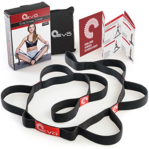Stretching Strap with 10 Elastic Loops + eBook & 35 Online Stretch Out Video Exercises - Yoga and Pilates Workouts - Black