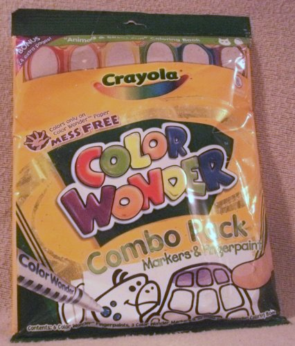 CRAYOLA COLOR WONDER--48 PAGE COLORING BOOK COMBO PACK MARKERS & FINGERPAINT [ MESS FREE ] COLORS ONLY ON COLOR WONDER PAPER