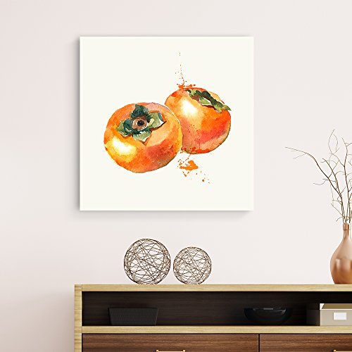 Square Persimmon Watercolor Fruits Watercolor Art and Illustrations