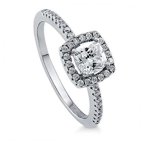 BERRICLE Rhodium Plated Sterling Silver Cushion Cut Cubic Zirconia CZ Halo Promise Engagement Ring 0.78 CTW Size 7.5