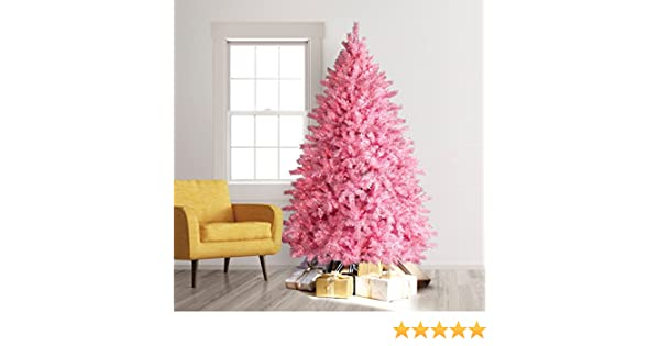 treetopia pretty in pink artificial christmas tree feet pink lights home kitchen jpg 600x315 lights artificial