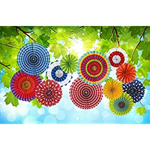 12 Paper Fan Mexican Fiesta/Cinco De Mayo /Carnival/ Kids Party Hanging Decoration Supplies Favors