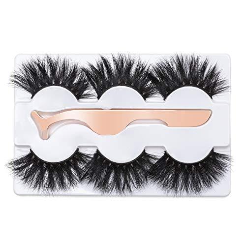 3D Mink Eyelashes 25MM Fluffy False Eyelashes Dramatic Thick Wispy Fake Eyelashes Handmade Long Soft Lashes with Tweezers Cruelty-Free Reusable 3 Pairs DYSILK