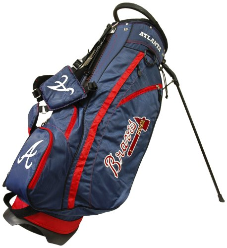 Team Golf MLB Atlanta Braves Fairway Golf Stand Bag, Lightweight, 14-way Top, Spring Action Stand, Insulated Cooler Pocket, Padded Strap, Umbrella Holder & Removable Rain Hood