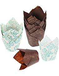 Mtlee Tulip Baking Cups Tulip Cupcake Liners Paper Muffin Cups for Baking, Brown and White, 100 Count