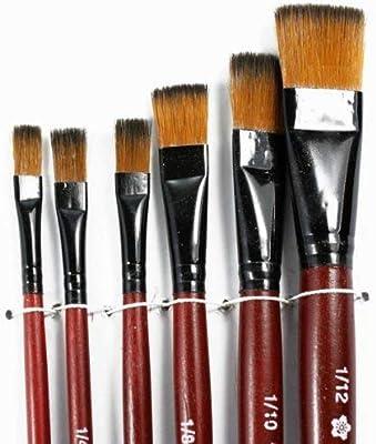 Xiton Pack de 6 Arte marrón Nylon Pintura Pinceles para acrílico ...