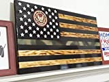 Handcrafted Rustic Camo Line (Military) American Flag - Rustic Wooden American Flag - Army, Air Force, Navy, Marine Corp