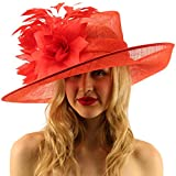 Glorious Side Flip Sinamy Floral Feathers Derby Floppy Dress Wide Brim Hat Red
