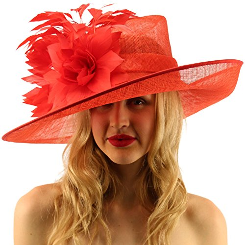 Glorious Side Flip Sinamy Floral Feathers Derby Floppy Dress Wide Brim Hat Red by SK Hat shop