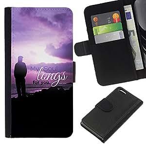EJOY---La carpeta del tirón la caja de cuero de alta calidad de la PU Caso protector / Apple Iphone 5C / --BIBLIA Anhela mi alma para usted Salmo 43: 6