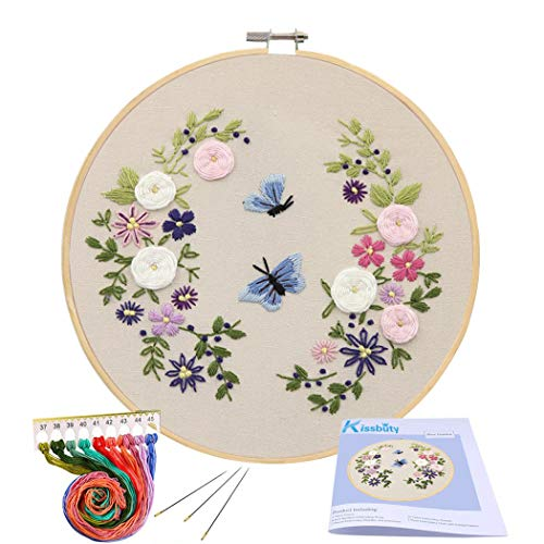 Full Range of Embroidery Starter Kit with Pattern, Kissbuty Cross Stitch Kit Including Embroidery Cloth with Floral Pattern, Bamboo Embroidery Hoop, Color Threads and Tools Kit (Flower Butterfly) ()