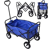Collapsible Folding Wagon Cart Garden Buggy Shopping Beach Toy Sports Blue Review