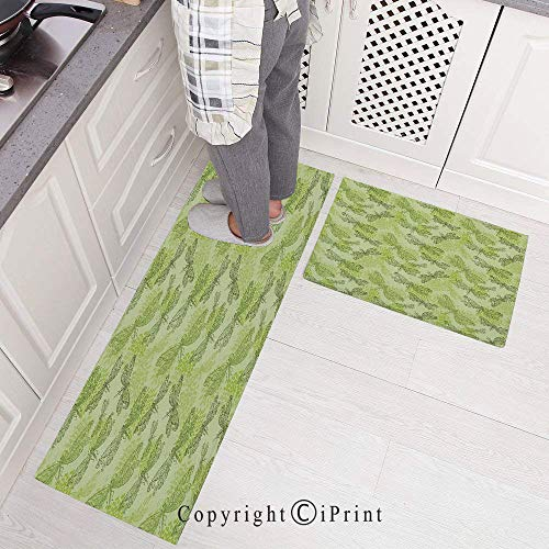 Kitchen Mat Set, 2 Piece Kitchen Rugs Cushioned Chef Non-Slip Rubber Back Floor Mats,Sketchy Butterfly Like Bugs with Floral Ivy Print Wings Artwork Washable Doormat Bathroom Runner Area Rug Carpet 1 -