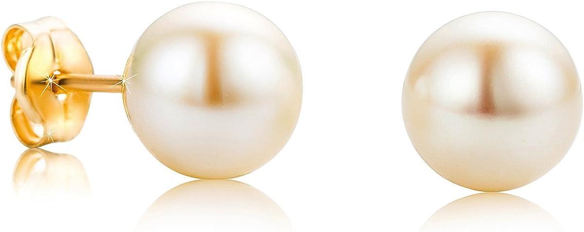 Orovi pendientes de mujer presión Perlas blancas 7mm de aguadulce en oro amarillo 18 kilates ley 750