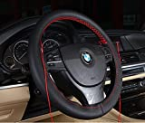 Follicomfy Genuine Leather Auto Car Steering Wheel Cover Stitch On Wrap ,Anti Slip Universal 15 Inch,Balck and Red