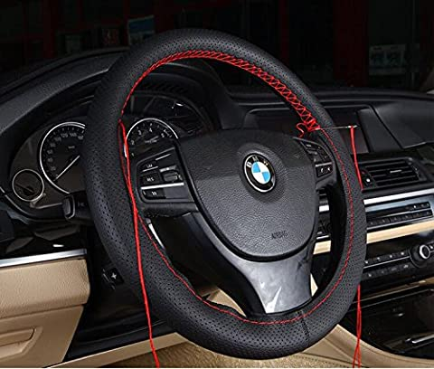 Follicomfy Genuine Leather Auto Car Steering Wheel Cover Stitch On Wrap ,Anti Slip Universal 15 Inch,Balck and (Peugeot 206 Computer)