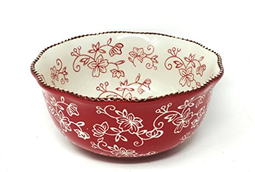 Bowl Edge Ruffle (Temp-tations Soup, Salad or Cereal Bowl with Fluted Edge (Floral Lace Red))
