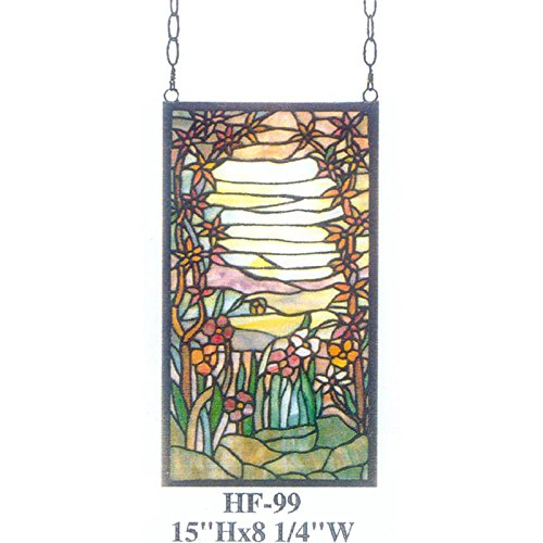 HF-99 Tiffany Style Stained Glass Floral Rectangular Window Hanging Glass Panel Sun Catcher, 15