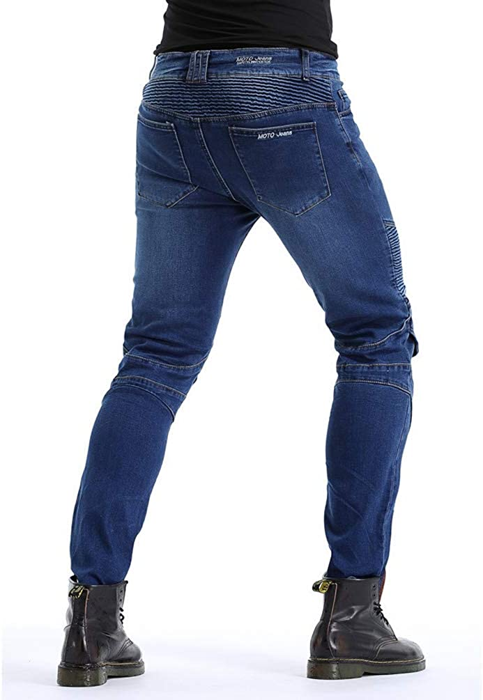 Zhiyuanan Uomo Donna Jeans Moto Impermeabile Biker Anti-Caduta Denim Pantaloni da Moto Protettivo Elastico Pantaloni Protettivi con 2 Protezioni Ginocchia e 2 Protettori Anca Blu