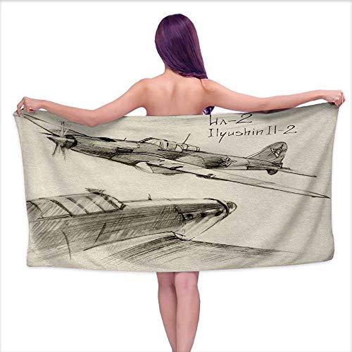 Luxury Hotel & Spa Bath Towel Airplane,Hand Drawn Series Soviet Military Enginery Jets Flights World War Aviation Sketch,Black Ecru,W31 xL63 for Kids (Spa Series Jet)