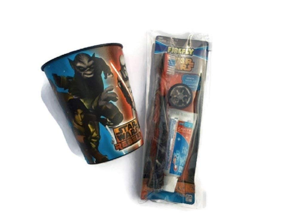 Star Wars Toothbrush Dental Bundle Cup Toothpaste Brush Holder Travel Case Kids Crest Cavity Fighting Flouride Hygiene Darth