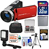 Bell & Howell Fun Flix DV50HD 1080p HD Video Camera Camcorder (Red) 32GB Card + Battery + Case + Tripod + LED Video Light + Kit