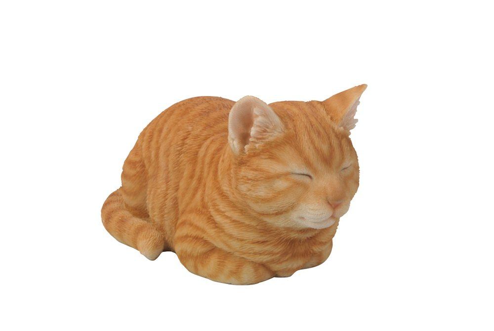Hi-Line Gift Ltd Tabby Sleeping Cat Statue, Orange