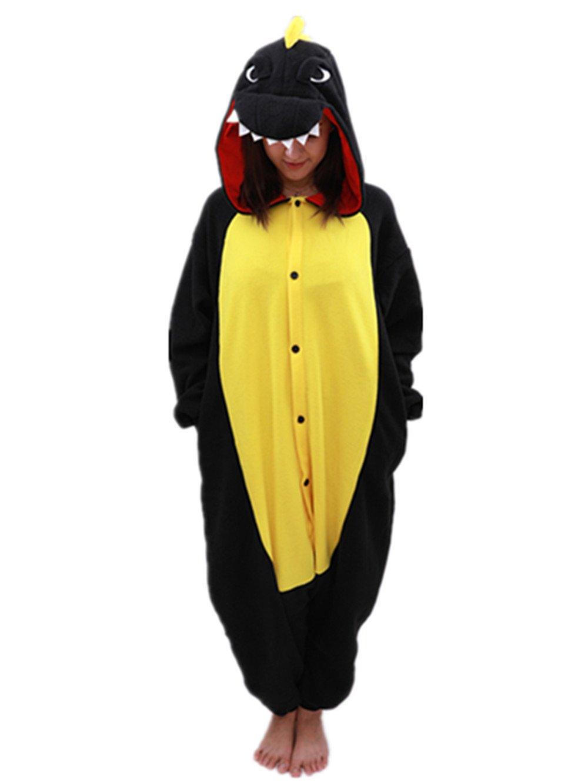 Animal Onesie Dinosaur Pajamas-Plush One Piece Costume (Large, Black)