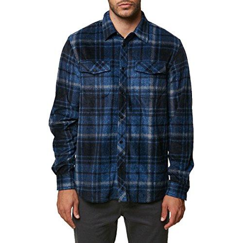 O'Neill Men's Glacier Plaid Long Sleeve Woven Fleece Shirt, Dark Blue, ()