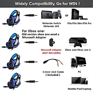 Gaming Headset for Xbox one Ps4, Gamer Headphone with Mic, Over ear Bass Stereo, Noise Reduction Microphone, LED Lights and Volume Control for PC, Nintendo Switch/3DS, Laptop, Mac, Pad, Smartphone