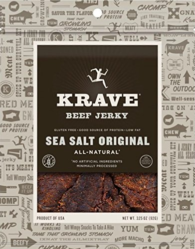 Krave Jerky Sea Salt Original Beef 3.25 oz (Pack of 4)