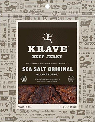 Krave Jerky Sea Salt Original Beef 3.25 oz (Pack of 4)