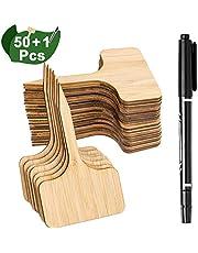 Whaline 50Pcs Etiquetas de Plantas de Bambú con un Rotulador, Etiquetas de Signo de Plantas de Madera T-Tipo Marcadores de Jardín para Semillas Hierbas Flores Vegetales (6 x 10 cm)