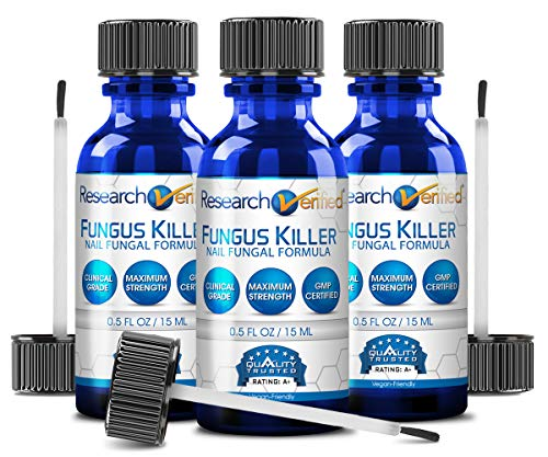 Research Verified Nail Fungus Killer - #1 Nail Fungus Treatment on the Market - 100% Natural - with Undecylenic Acid - The Best Solution for Eliminating Nail Fungus - 3 Bottles (3 Months Supply) (Best E Nails On The Market)