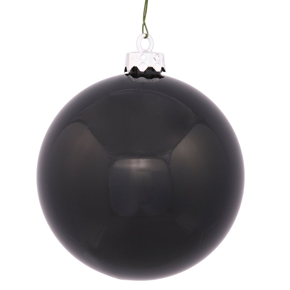 Vickerman Shatterproof Shiny Ball Ornaments, 60 per Box, 2.4'', Black
