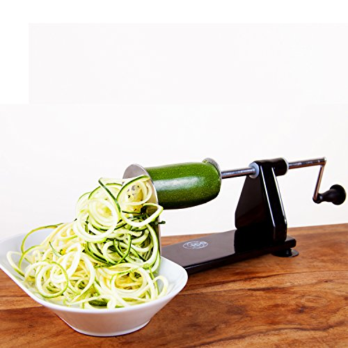 - ICO 4-Blade Spiralizer Vegetable Slicer and Curly Fries Maker, Stronger than all Plastic Spiralizers with 3 Interchangeable Blades and 1 Built-In, Black