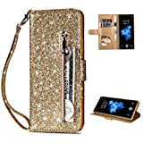 Shinyzone LG K8 2018/LG Aristo 2 Glitter Zipper Wallet Case,Smooth PU Leather Case + Soft TPU Inner Shell with Card Holder and Hand Strap,Magnetic Closure Kickstand Flip Cover-Gold
