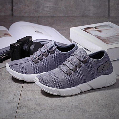 Transer® Herren/Jungen Flach Walkingschuhe Atmungsaktiv Sneakers Walking Casual Schnüren Schwarz Grau Laufschuhe Sport Schuhe (Bitte eine Nummer größer bestellen) Grau
