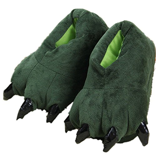 Adult Cute Plush Animal Paw Slippers Fuzzy Warm House Shoes L Green -