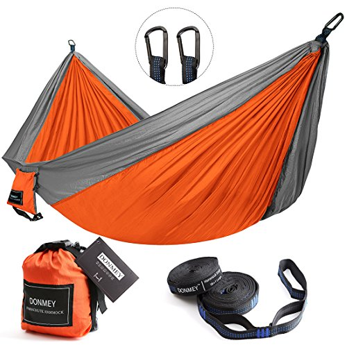 DONMEY Single & Double Parachute Camping Hammock with Tree Straps - Lightweight Portable Nylon Hammocks for Travel, Backpacking, Hiking, Beach, Yard Grey/Orange, 78 W x 118 L