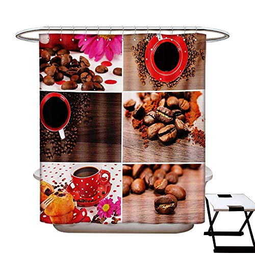 Kitchen Shower Curtain Collection by Coffee Themed Collage of Mugs Polka Dots Flowers Beans Muffins Close Up Photography Patterned Shower Curtain W36 x L72 Brown Red