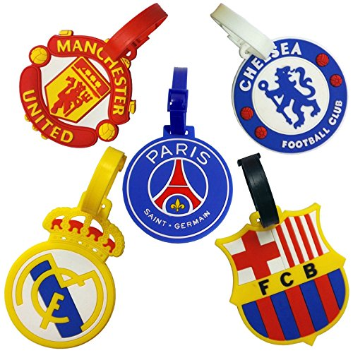 Set of 5 FIFA Football Club Soccer Theme Luggage Tag/ID Tag Set (Tag Theme Luggage)