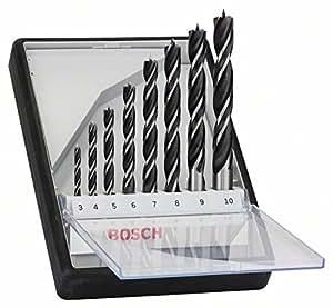 Bosch 2 607 010 533 - Set de 8 brocas helicoidales para madera Robust Line - 3; 4; 5; 6; 7; 8; 9; 10 mm (pack de 8)